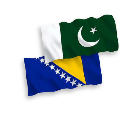National vector fabric wave flags of Bosnia and Herzegovina and Pakistan isolated on white background. 1 to 2 proportion.