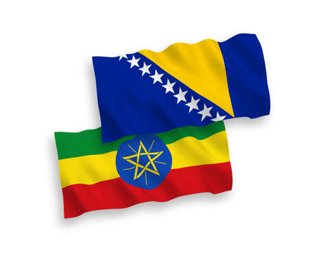 National vector fabric wave flags of Bosnia and Herzegovina and Ethiopia isolated on white background. 1 to 2 proportion.