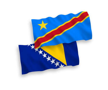 National vector fabric wave flags of Bosnia and Herzegovina and Democratic Republic of the Congo isolated on white background. 1 to 2 proportion. 向量圖像