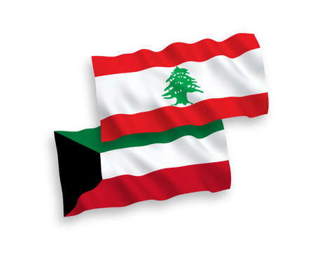 National vector fabric wave flags of Lebanon and Kuwait isolated on white background. 1 to 2 proportion.