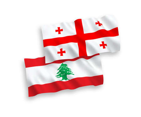 National vector fabric wave flags of Lebanon and Georgia isolated on white background. 1 to 2 proportion. 向量圖像
