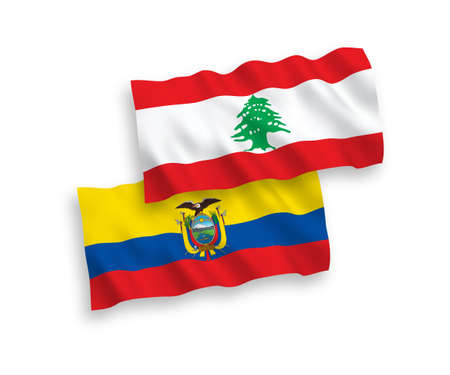 National vector fabric wave flags of Lebanon and Ecuador isolated on white background. 1 to 2 proportion. 向量圖像