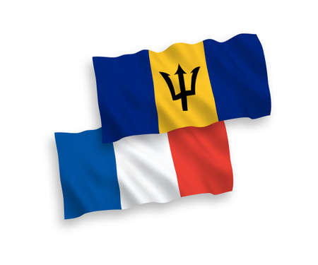 National vector fabric wave flags of France and Barbados isolated on white background. 1 to 2 proportion.