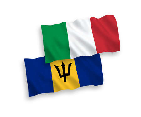 National vector fabric wave flags of Italy and Barbados isolated on white background. 1 to 2 proportion.
