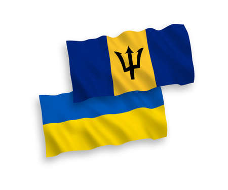 National vector fabric wave flags of Barbados and Ukraine isolated on white background. 1 to 2 proportion.