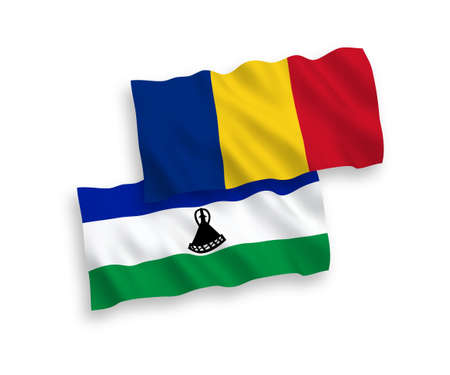 National vector fabric wave flags of Romania and Lesotho isolated on white background. 1 to 2 proportion. 向量圖像