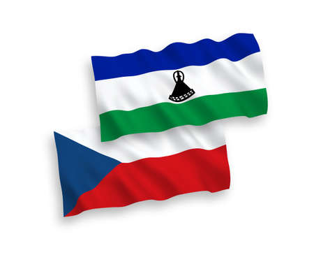 National vector fabric wave flags of Czech Republic and Lesotho isolated on white background. 1 to 2 proportion.