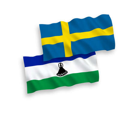 National vector fabric wave flags of Sweden and Lesotho isolated on white background. 1 to 2 proportion.