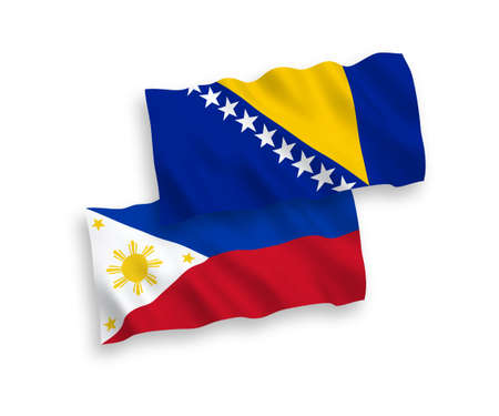 National vector fabric wave flags of Bosnia and Herzegovina and Philippines isolated on white background. 1 to 2 proportion.