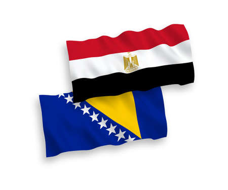 National vector fabric wave flags of Bosnia and Herzegovina and Egypt isolated on white background. 1 to 2 proportion. 向量圖像