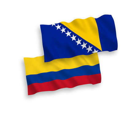 National vector fabric wave flags of Bosnia and Herzegovina and Colombia isolated on white background. 1 to 2 proportion.