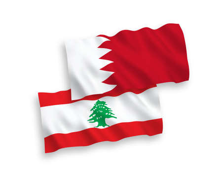 National vector fabric wave flags of Lebanon and Bahrain isolated on white background. 1 to 2 proportion.