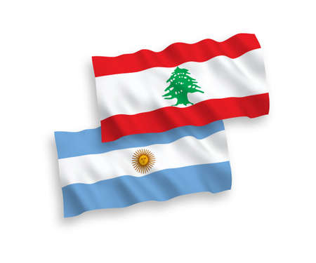 National vector fabric wave flags of Lebanon and Argentina isolated on white background. 1 to 2 proportion.