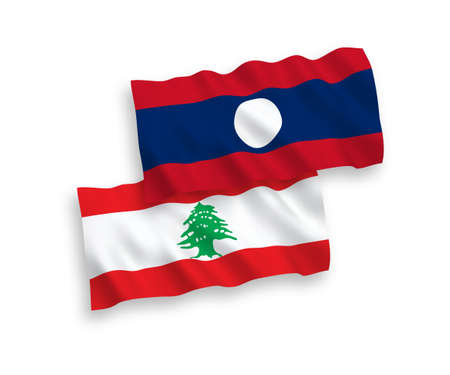 National vector fabric wave flags of Lebanon and Laos isolated on white background. 1 to 2 proportion. 向量圖像