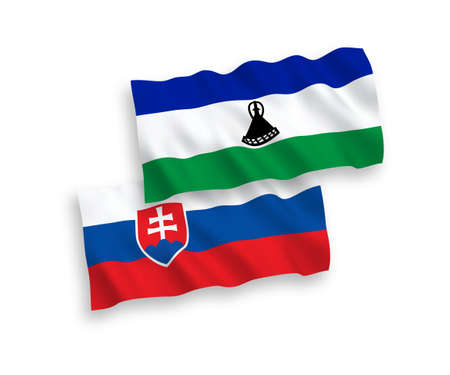 National vector fabric wave flags of Slovakia and Lesotho isolated on white background. 1 to 2 proportion.