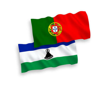 National vector fabric wave flags of Portugal and Lesotho isolated on white background. 1 to 2 proportion.