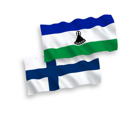 National vector fabric wave flags of Finland and Lesotho isolated on white background. 1 to 2 proportion.