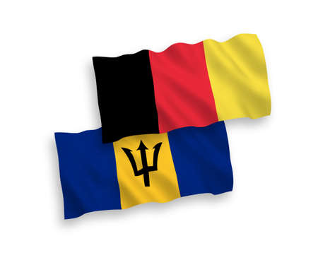 National vector fabric wave flags of Barbados and Belgium isolated on white background. 1 to 2 proportion.