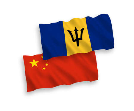 National vector fabric wave flags of Barbados and China isolated on white background 1 to 2 proportion. 向量圖像