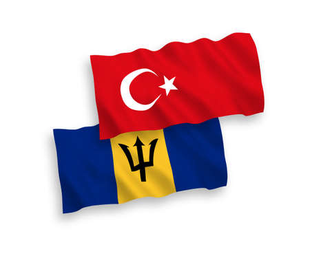 National vector fabric wave flags of Turkey and Barbados isolated on white background. 1 to 2 proportion. 向量圖像