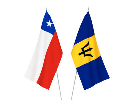 National fabric flags of Chile and Barbados isolated on white background. 3d rendering illustration. Foto de archivo