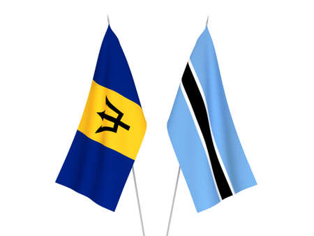 National fabric flags of Botswana and Barbados isolated on white background. 3d rendering illustration.