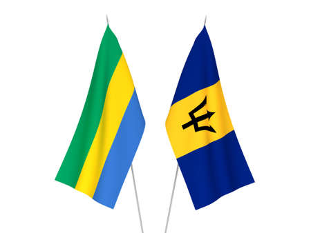 National fabric flags of Gabon and Barbados isolated on white background. 3d rendering illustration.