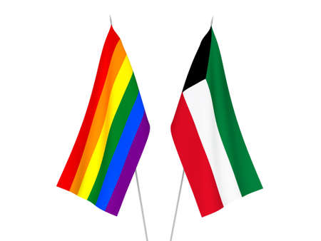 National fabric flags of Kuwait and Rainbow gay pride isolated on white background. 3d rendering illustration. Foto de archivo - 157456882
