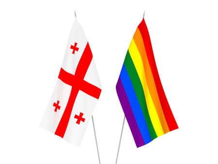 National fabric flags of Georgia and Rainbow gay pride isolated on white background. 3d rendering illustration. Foto de archivo