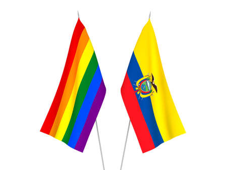National fabric flags of Ecuador and Rainbow gay pride isolated on white background. 3d rendering illustration.