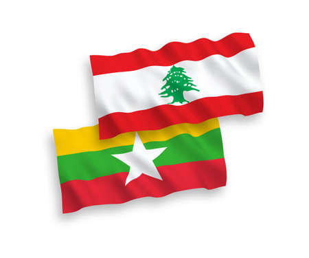 National vector fabric wave flags of Lebanon and Myanmar isolated on white background. 1 to 2 proportion. Foto de archivo - 157456886