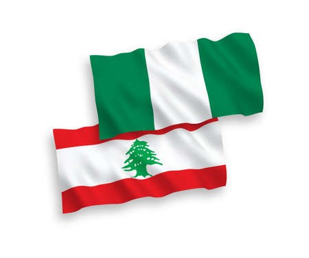 National vector fabric wave flags of Lebanon and Nigeria isolated on white background. 1 to 2 proportion.