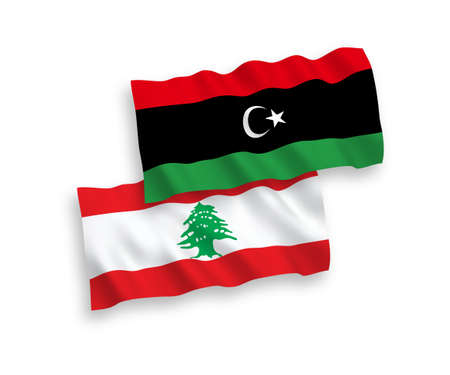 National vector fabric wave flags of Lebanon and Libya isolated on white background. 1 to 2 proportion. Foto de archivo - 157456888