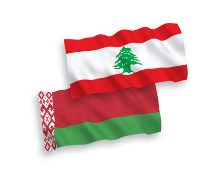 National vector fabric wave flags of Lebanon and Belarus isolated on white background. 1 to 2 proportion. Vectores