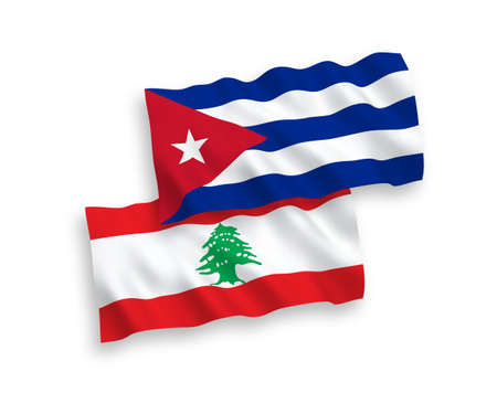 National vector fabric wave flags of Lebanon and Cuba isolated on white background. 1 to 2 proportion. Foto de archivo - 157456891