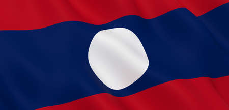 National Fabric Wave Closeup Flag of Laos Waving in the Wind. 3d rendering illustration. Foto de archivo