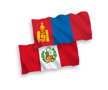 National vector fabric wave flags of Mongolia and Peru isolated on white background. 1 to 2 proportion.