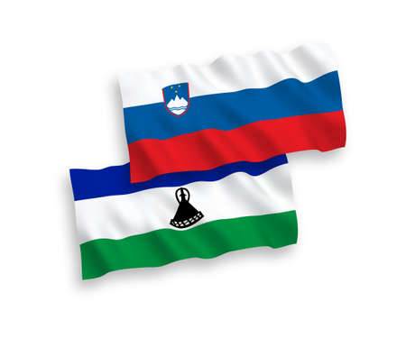 National vector fabric wave flags of Slovenia and Lesotho isolated on white background. 1 to 2 proportion.