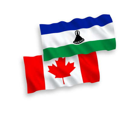 National vector fabric wave flags of Canada and Lesotho isolated on white background. 1 to 2 proportion.