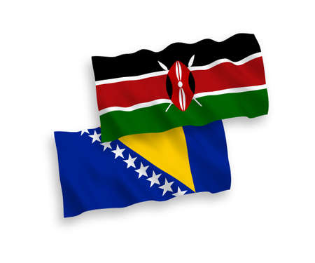 National vector fabric wave flags of Bosnia and Herzegovina and Kenya isolated on white background. 1 to 2 proportion.