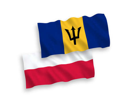National vector fabric wave flags of Barbados and Poland isolated on white background. 1 to 2 proportion. 向量圖像