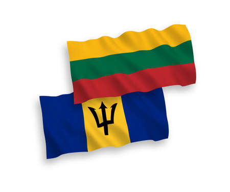 National vector fabric wave flags of Lithuania and Barbados isolated on white background. 1 to 2 proportion. 向量圖像