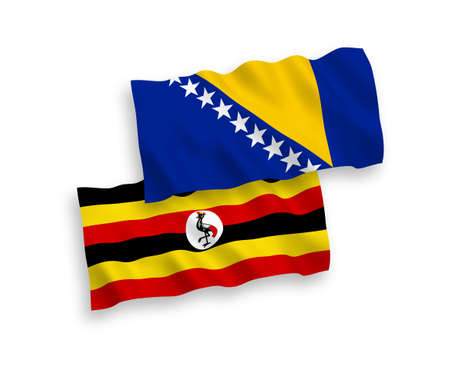 National vector fabric wave flags of Bosnia and Herzegovina and Uganda isolated on white background. 1 to 2 proportion.