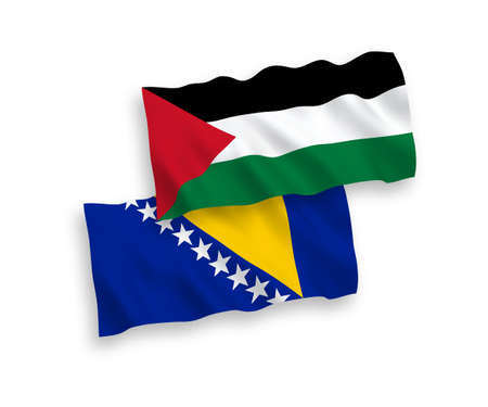National vector fabric wave flags of Bosnia and Herzegovina and Palestine isolated on white background. 1 to 2 proportion. 向量圖像