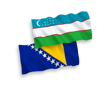 National vector fabric wave flags of Bosnia and Herzegovina and Uzbekistan isolated on white background. 1 to 2 proportion.