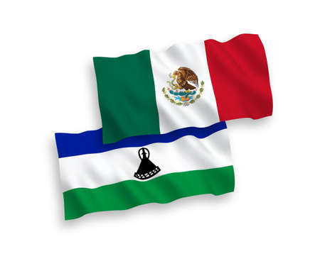 National vector fabric wave flags of Mexico and Lesotho isolated on white background. 1 to 2 proportion.