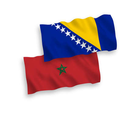 National vector fabric wave flags of Bosnia and Herzegovina and Morocco isolated on white background. 1 to 2 proportion. 向量圖像