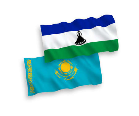 National vector fabric wave flags of Kazakhstan and Lesotho isolated on white background. 1 to 2 proportion.