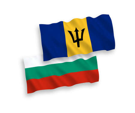 National vector fabric wave flags of Bulgaria and Barbados isolated on white background. 1 to 2 proportion. 向量圖像
