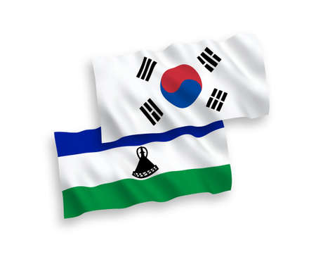 National vector fabric wave flags of South Korea and Lesotho isolated on white background. 1 to 2 proportion.
